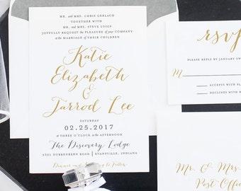 Wedding Invitation | Printable Wedding Invitation, Formal Invitation, Calligraphy Wedding Invitation, Gold, DIY Wedding Invitation - #S35
