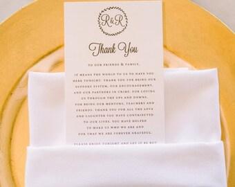 Monogrammed Printable Wedding Thank You to Our Family Card Printable