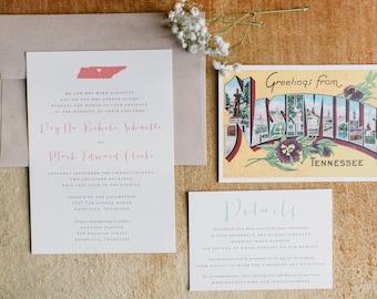 Vintage Postcard Printable Wedding Invitation Suite Featuring State