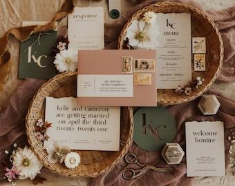 Boho Modern Wedding Invitation Suite Printable