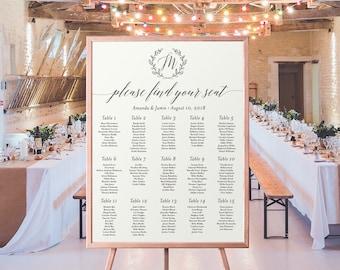 Monogram Laurel Wedding Seating Chart Poster Printable