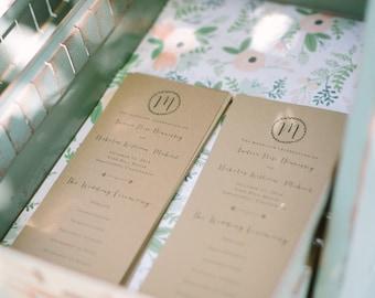 Boho Monogrammed Two-Sided Wedding Program Printable