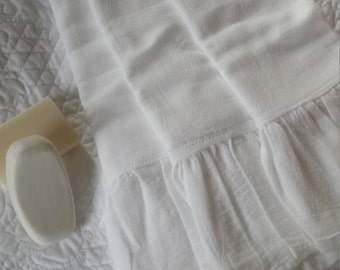 Set of Three Farmhouse White Ruffle Hand Towels