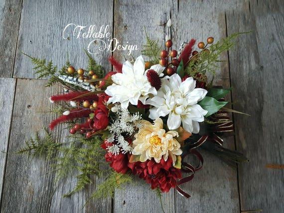 Hiver De Mariage Bouquet Noel Mariage Rouge Fonce Et Blanc Ivoire Vert D Hiver Bouquet De La Mariee Handtied Grand Bouquet Fleurs