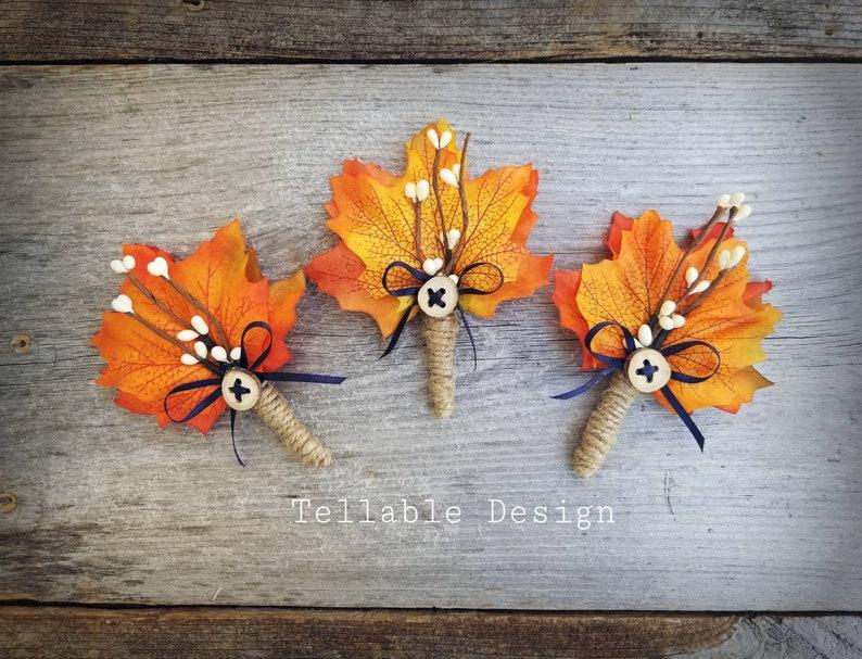 Fall Wedding boutonniere Autumn Wedding Lapel pin Buttonhole Maple leaves orange Rustic Boho wedding