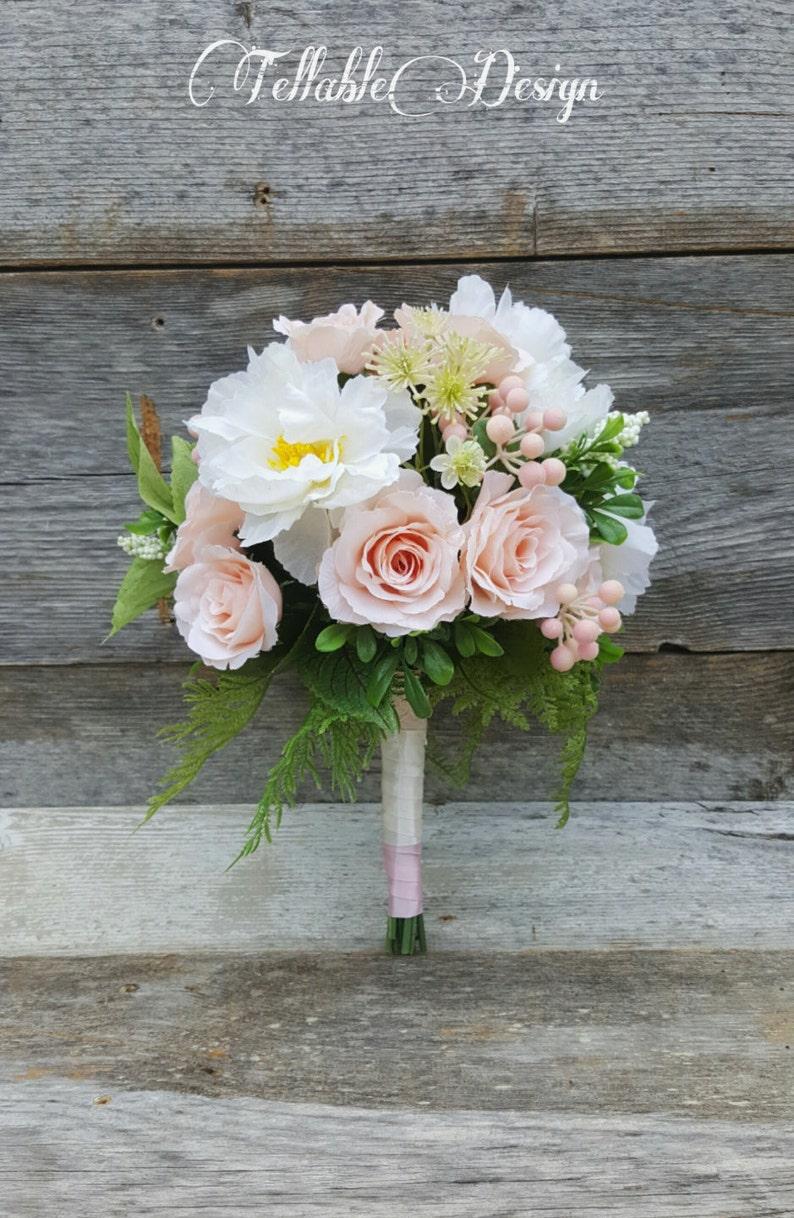 Fard A Joues Jardin Rose Bouquet De Mariee Rose Et Blanc Etsy
