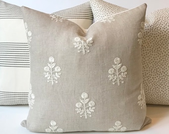 74a532b8f22 Light gray and cream embroidered floral boho dots decorative pillow cover
