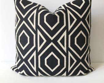 Black and off white large scale geometric modern decorative pillow cover