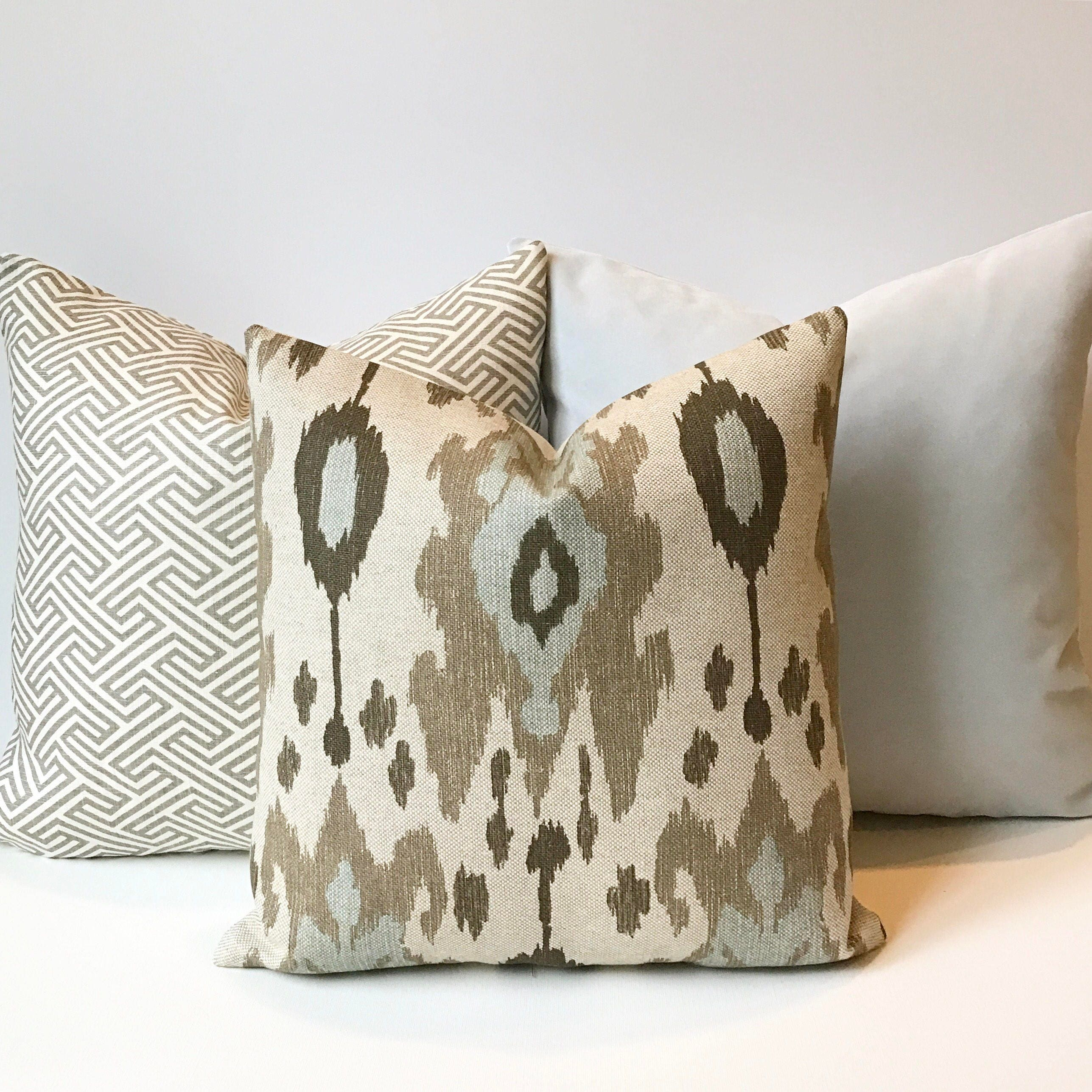 Ikat decorative pillow cover light blue brown and grey  f1ef80d96