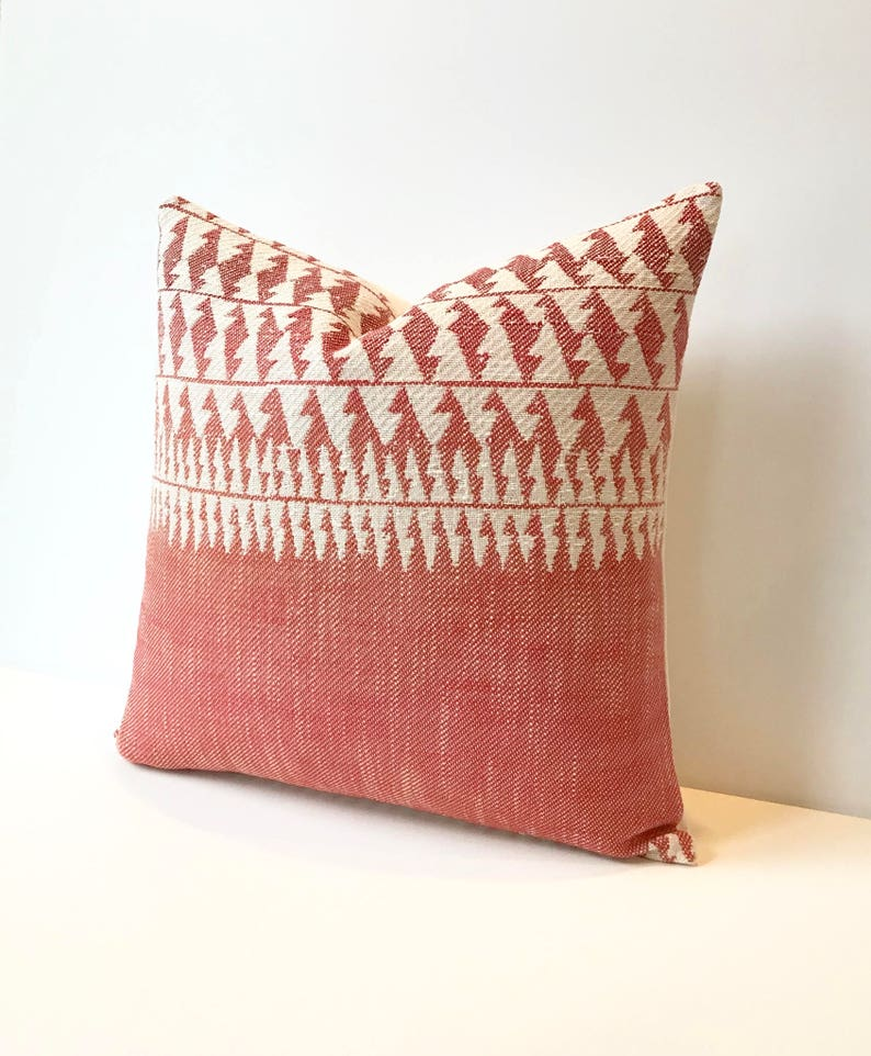 Red tribal striped boho Decorative Pillow Cover image 0