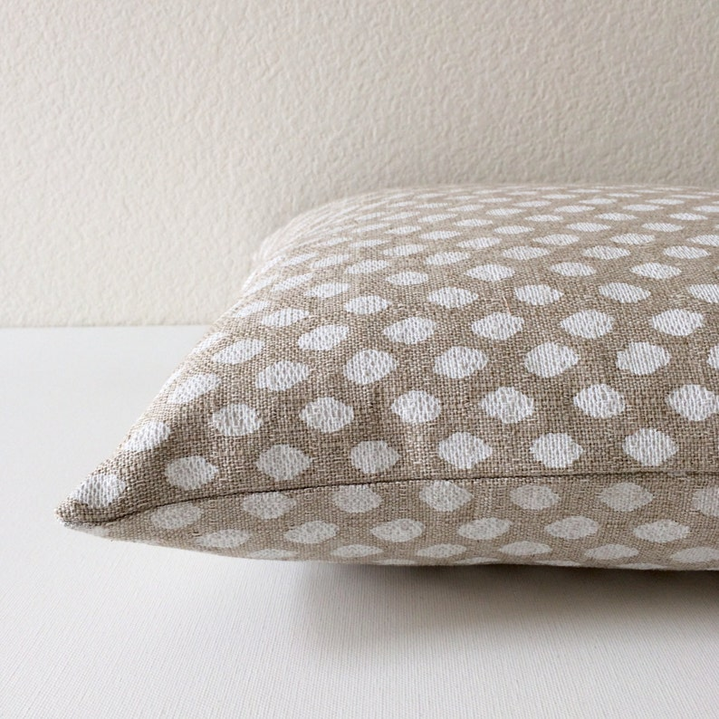 spotted natural pillow cover Beige tan and white dots decorative pillow cover