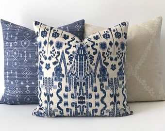Navy, Blue and Oatmeal Ikat Decorative Pillow Cover