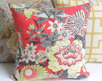 Decorative throw pillow, pink coral floral pillow