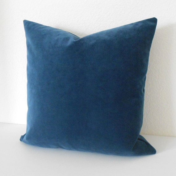 Indigo Blue velvet decorative pillow