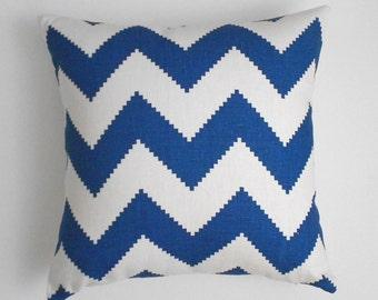 Marine Blue chevron decorative throw pillow, Jonathan Adler fabric
