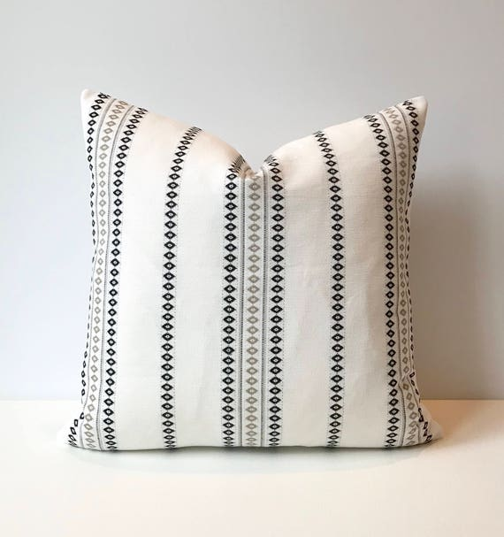 White And Black Boho Embroidered Striped Decorative Pillow Etsy Impressive Black And White Striped Decorative Pillows