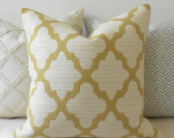 Double sided, Golden yellow and ivory morrocan quatrefoil decorative pillow cover