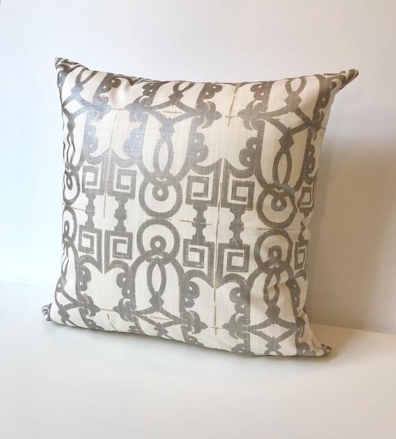 Metallic Silver And White Geometric Trellis Fretwork Etsy Beauteous Fretwork Decorative Pillow