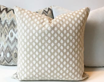 Both sides, Oatmeal tan and white dots decorative pillow cover, spotted natural pillow cover