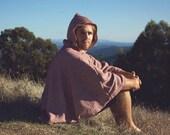 Red Striped Cloak Woodland Hooded Cloak One Size Cloak Hooded Poncho Fall Poncho Hoodie Wool Cloak Unisex Hoodie Boho Poncho