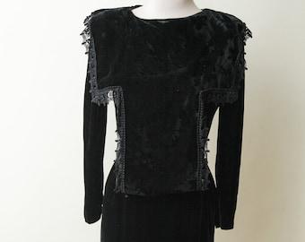Black Velvet Dress | Vintage Velvet Dress | Jessica McClintock Black Velvet Dress | 1980s Velvet Dress | Black Velvet Lace Dress