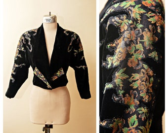 56d9dd8cc06b Black Velvet Metallic Jacket | Short Black Coat | Vintage Floral Crop Jacket  | Cropped Velvet Blazer | Evening Retro Shrug | Floral Metallic
