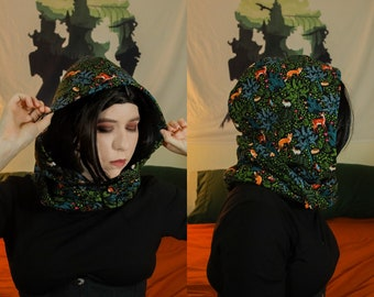 Flannel Cowl Scarf   Woodland Animal Infinity Scarves   Hooded Deer Fox Floral Witch Elven Neck Warmer   Fairycore Goblincore Fall Accessory