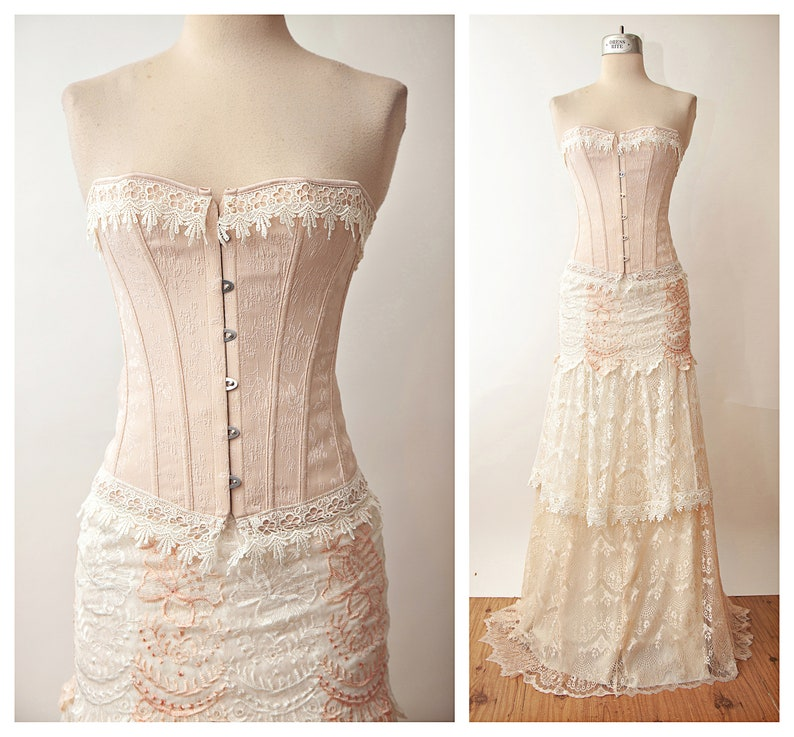 c2019ef87ee Ivory Pink Lace Faerie Gown Tiered Wedding Dress Corset