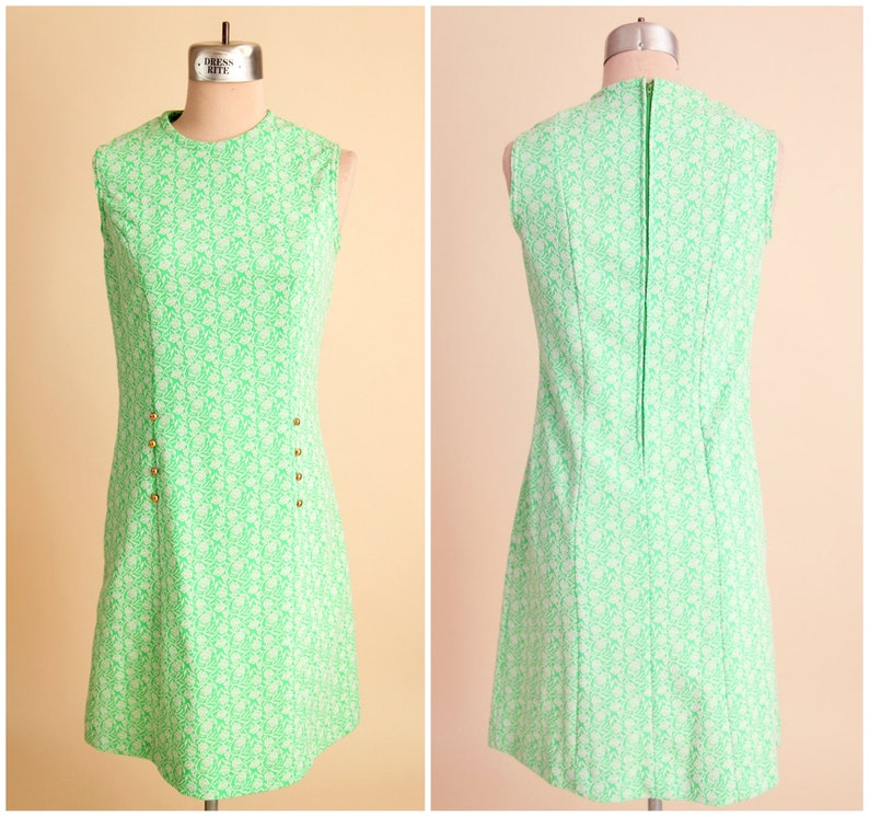 Mint Green Lace Dress Floral 1960s Mod Sleeveless Summer Cocktail Business Casual Party Short Shift Dress Retro Vintage Hippie Style