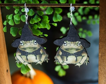 Witch Toad Earrings   Halloween Wizard Frog Dangles   Magical Woodland Goblincore Cottagecore Fairycore   Wood Sterling Silver Ear Wire