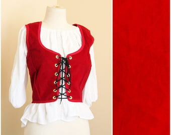 Red Velvet Bodice   Renaissance Corset Top   Medieval Lace Up Front Vest   SCA LARP Fantasy Faire Garb   Wench Pirate Fairy Cosplay Costume