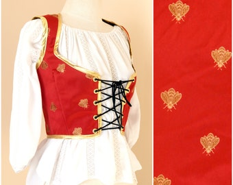 Red Gold Renaissance Bodice   Honey Bee Corset Top   Medieval Lace Up Vest   SCA LARP Fantasy Faire Garb   Fairy Royalty Cosplay Costume