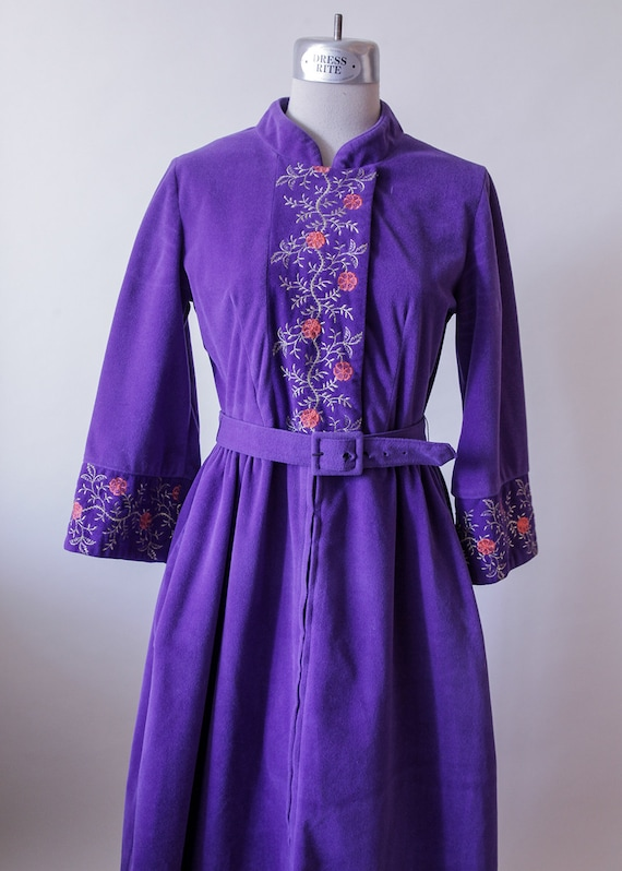 db386b8349 Purple Velvet Dress Embroidered Violet Floral Nightgown
