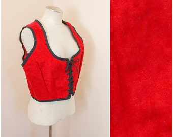 Red Renaissance Bodice   Pirate Corset Top   Medieval Lace Up Front Vest   SCA LARP Fantasy Faire Garb   Witch Wench Fairy Cosplay Costume