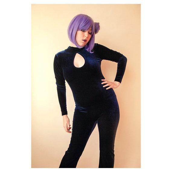 7be465d6bf8 NEW Midnight Blue Velvet Jumpsuit Vintage Velvet Catsuit