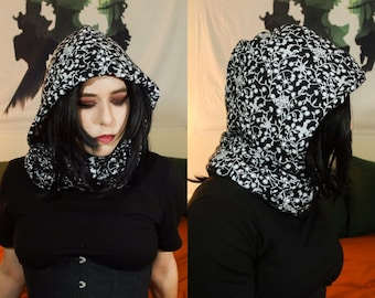 Flannel Cowl Scarf   Spiderweb Floral Infinity Scarves   Hooded Witchy Goth Neck Warmer   Fairycore Goblincore Halloween Fall Accessories
