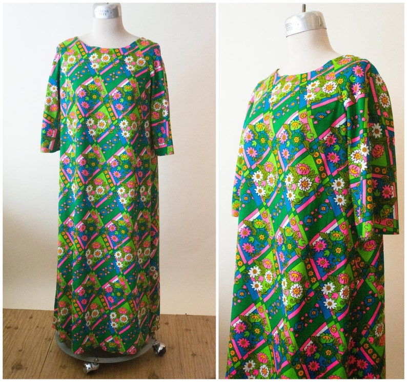 3eedbc968d Green Floral Print Dress 1960s Hawaiian Mumu Gown Resort | Etsy