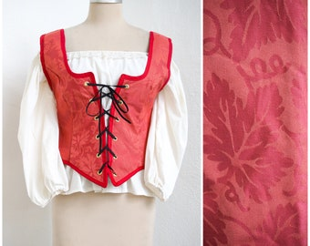 Red Renaissance Bodice   Medieval Baroque Corset   Lace Front Vest   SCA LARP Faire Garb   Wench Pirate Costume   Cosplay Festival Fashion