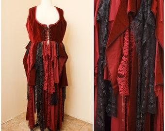 Corset Lace Cloak   Burgundy Red Gothic Duster   Lace Renaissance Bodice Overcoat   Alternative Steampunk Costume   Fairytale Medieval Cape