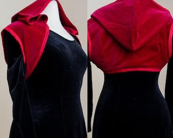 Hooded Pixie Shrug   Red Velvet Crop Top   Wiccan Elven Tribal Fusion Vest   Sleeveless Priestess Hood Bolero   Renaissance Witch