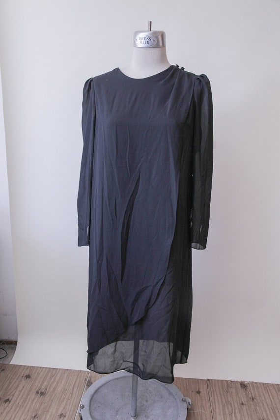 Futuristic Tunic Dress Sheer Black Tunic Long Sleeve Tunic Etsy