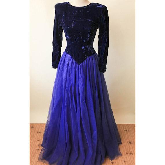 8e15f603b2 Violet Velvet Gown Vintage Prom Dress Velvet Tulle Gown