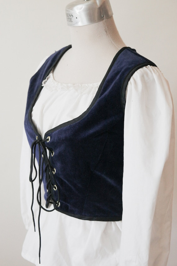 afe484d0c80 Blue Velvet Corset Navy Renaissance Corset Pirate Wench