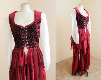 Corset Lace Cloak   Burgundy Floral Gothic Duster Cape   Lace Renaissance Bodice Overcoat   Alternative Steampunk Costume Fairytale Medieval