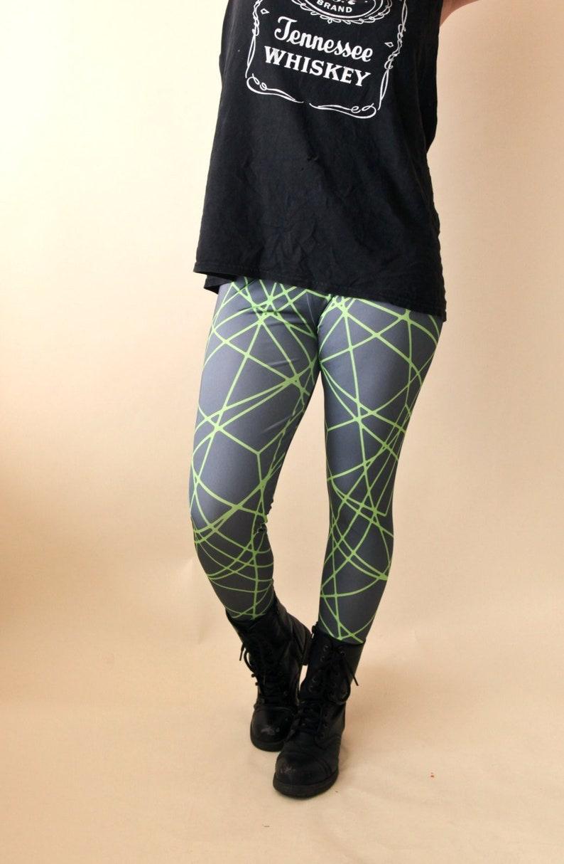ca2541f804cfb Gray Green Leggings Geometric Print Pattern Yoga Stretch   Etsy