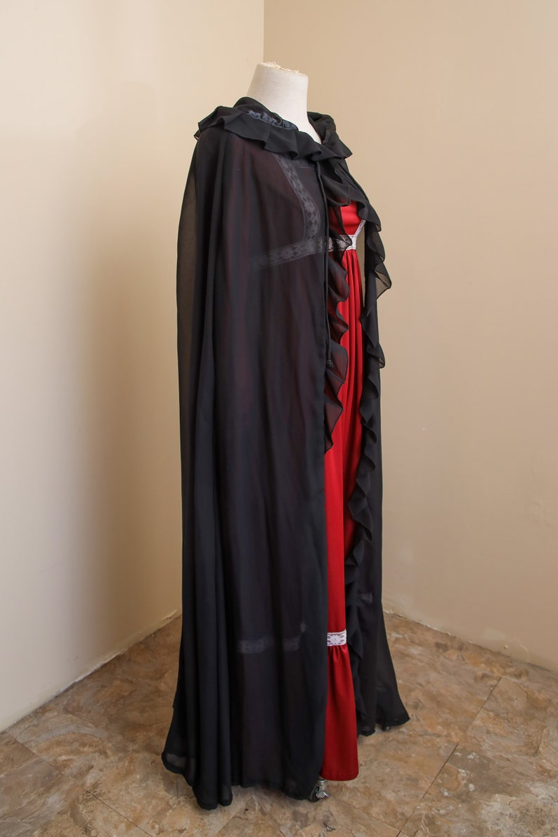 Renaissance LARP Dark Fantasy Ethereal Raven Cosplay Black Hooded Cape Gothic Vampire Halloween Costume Sheer Chiffon Witch Cloak