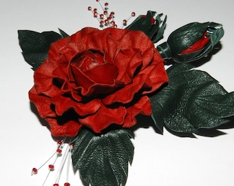 Leather brooch! Leather roses, handmade leather flower, Nice Christmas gift!