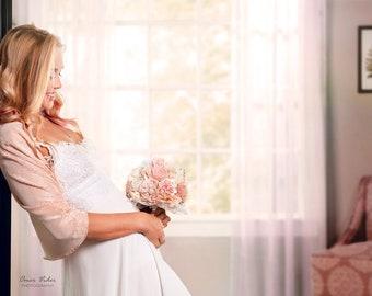 Peach Wedding Bolero, Blush Bridal Shrug, Pleated Loop Shawl With 4 Wearing Ways- Shrug, Shawl, Crisscross And Scarf. Blush Wedding Shawl