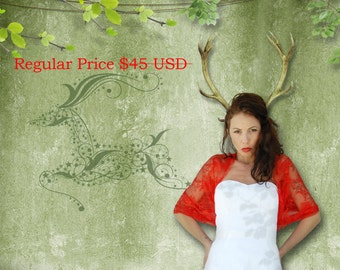 Red Lace Bolero, Versatile Shawl, Gift For Her Red Lace 4 Options Infinity Shawl- Shrug, Shawl, Twist And Loop Scarf. Red Lace Cover Up Wrap