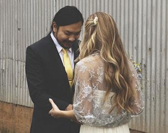 Wedding Silver Lace Shawl/ Shrug. Plus Size Bridal Shawl, Wear As A Shrug, Shawl, Twist Or Scarf. Silver Wedding Bridal Cover Up, Lace Shawl